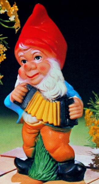 Gartenzwerg mit Harmonika Figur Zwerg H 28 cm Gartenfigur aus Kunststoff