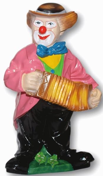 Dekorationsfigur Zirkus Clown stehend mit Harmonika H 57 cm Deko Figur aus Kunstharz