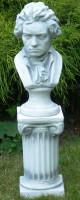 Beton Figuren Skulpturen Büste Statue Komponist Ludwig van Beethoven auf ionischer Säule H 76 cm Dek