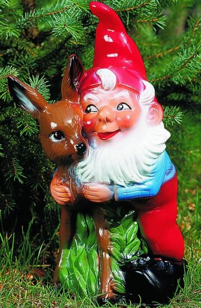 Gartenzwerg Deko Garten Figur Zwerg mit Reh stehend Gartenfigur aus Kunststoff H 27 cm