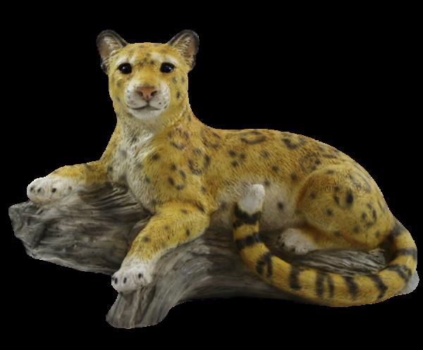 Dekofigur Tierfigur Wildtierfigur Raubkatze Leopard liegend Kollektion Castagna aus Resin H 20 cm
