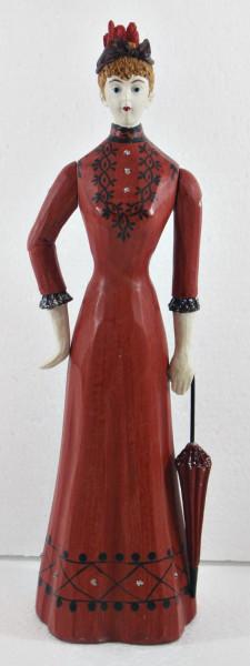 Modefigur Beauty Figur Deko Modepuppe Nostalgiefigur Dame rotes Kleid mit Schirm aus Holz H 30 cm