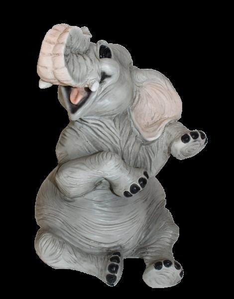 Figur Elefant Baby Elefantenfigur sitzend und lachend Tierfigur Kollektion Castagna Resin H 21 cm