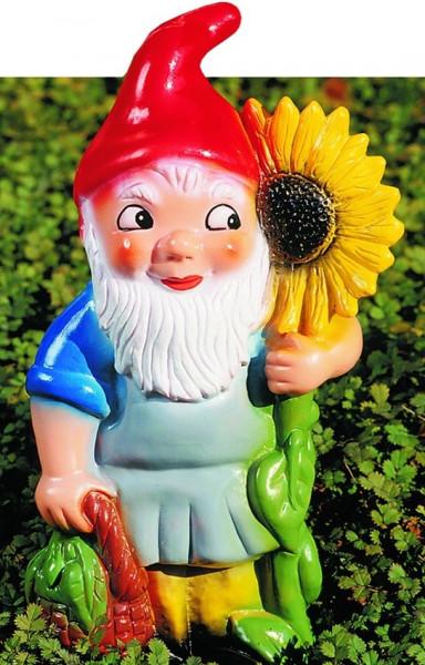 Gartenzwerg mit Sonnenblume Figur Zwerg H 31 cm Gartenfigur aus Kunststoff