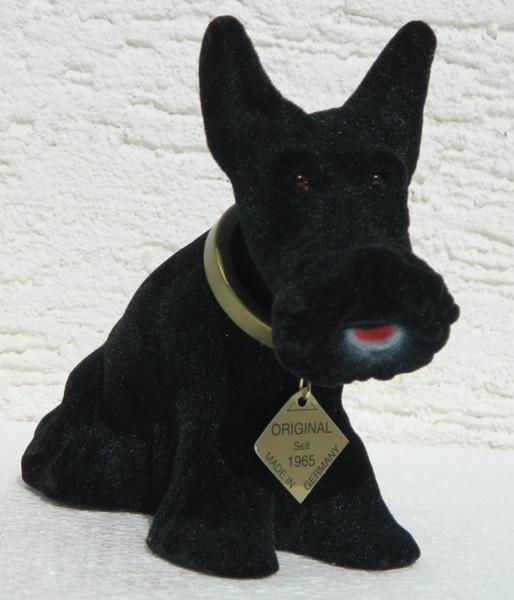 Wackel Figur Hund Scottish Terrier Wackelfigur H 13,5 cm klein schwarz Dekofigur mit Wackelkopf