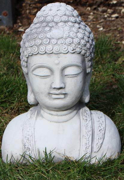 Beton Figur Statue Skulptur Buddha Büste H 28 cm Dekofigur und Gartenskulptur