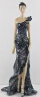 Beauty Figur Deko Modefigur Modepuppe Nostalgiefigur Dame schwarzen Kleid mit blauer Blume aus Resin