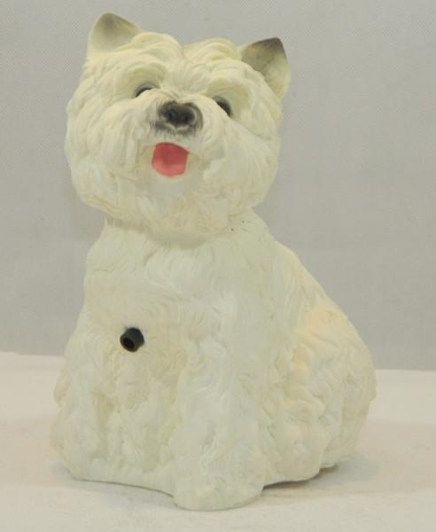 Deko Figur Hund West White Terrier Tierfigur H 22 cm Dekofigur mit Bewegungsmelder Wau-wau