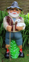 Deko Garten Figur Dekofigur Gartenfigur Tierfigur Hirte Schäfer mit Lämmlein aus Kunststoff H 86 cm