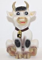 Deko Figur Kuh Resi sitzend mit Glocke H 32 cm lustige Kuhfigur Dekofigur mit Bewegungsmelder Muuuh