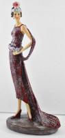 Beauty Figur Deko Modefigur Modepuppe Nostalgiefigur Dame rotes Kleid mit Kopfschmuck aus Resin