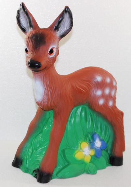 Deko Figur Rehkitz stehend H 44 cm Gartenfigur Bambi Rehlein Dekofigur aus Kunststoff