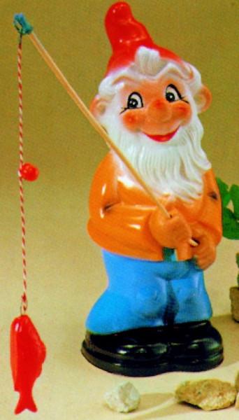 Gartenzwerg als Angler Figur Zwerg H 27 cm Gartenzwerg Gartenfigur aus Kunststoff