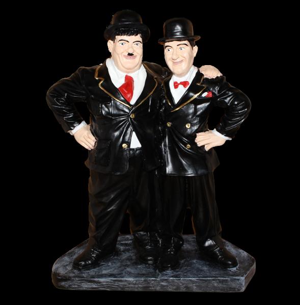 Dekorationsfiguren Komiker Dick und Doof Freunde H 52 cm stehend auf Sockel Deko Figuren Kunstharz