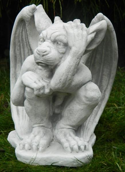 Beton Figur Drache Gargoyle Torwächter H 27 cm Dekofigur und Gartenskulptur