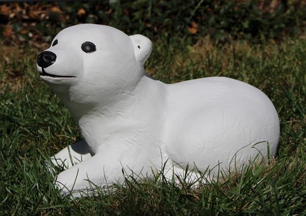 Beton Figur kleiner Eisbär H 15 cm Dekofigur und Gartenfigur