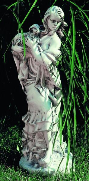 Deko Figur Statue junge Frau Pastora sthehend H 40 cm klasische Skulptur Gartenfigur aus Kunststoff