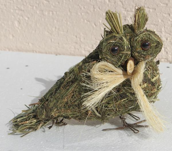 Deko Heu Figur Eule stehend Heueule Höhe 15 cm Tierfigur aus Naturmaterial Heu zum Basteln Heudeko