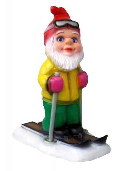 Gartenzwerg Ski Langläufer Figur Zwerg H 37 cm Winterdekoration aus Kunststoff