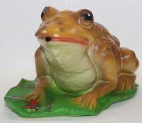 Deko Figur Kröte Frosch auf Blatt H 17 cm Gartenfigur Dekofigur mit Scherz Bewegungsmelder Quak