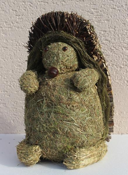 Deko Heu Figur Igel stehend H 38 cm Tierfigur aus Naturmaterial Heu zum Basteln Heudeko