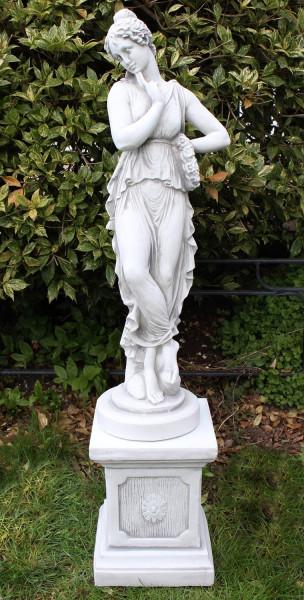 Beton Deko Figuren Statuen antike Frau auf klassischer Säule Dekofiguren und Gartenskulpturen