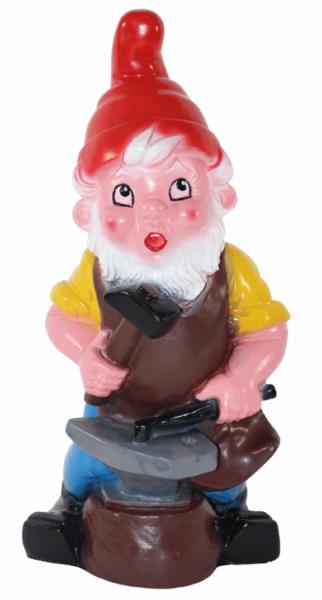 Gartenzwerg Figur Zwerg H 27 cm als Schmied stehend Gartenfigur aus Kunststoff