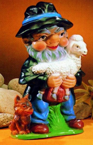 Gartenzwerg Schäfer Figur Zwerg mit Lämmchen und Hund H 32 cm Gartenzwerg aus Kunststoff
