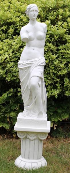 Deko Figur Statue Venus von Milo auf ionischer Säule H 118 cm 2-teilig Skulpturen aus Kunststoff