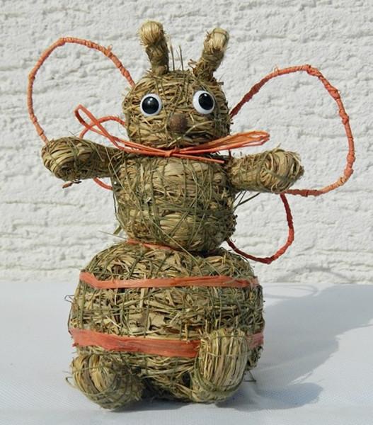 Deko Heu Figur Biene sitzend Heubiene Höhe 16 cm Tierfigur aus Naturmaterial Heu zum Basteln Heudeko