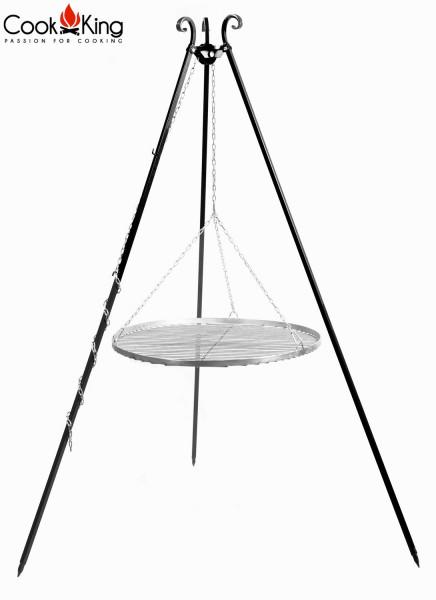 Schwenkgrill H 180 cm mit Grillrost Ø 50 cm aus Edelstahl Dreibein Grill Tripod Grillständer