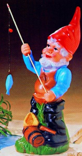 Gartenzwerg als Angler Figur Zwerg H 44 cm Gartenzwerg Gartenfigur aus Kunststoff