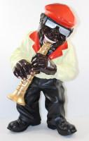 Deko Figur Musiker Figur Klarinettist H 44 cm Dekofigur Band Musiker mit Klarinette aus Kunstharz