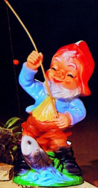 Gartenzwerg Deko Garten Figur Zwerg Angler mit Angel u. Fisch Gartenfigur aus Kunststoff H 31 cm