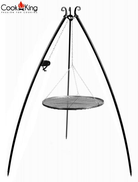 Schwenkgrill mit Kurbel H 200 cm mit Grillrost Ø 50 cm aus Rohstahl Dreibein Grill Grillständer