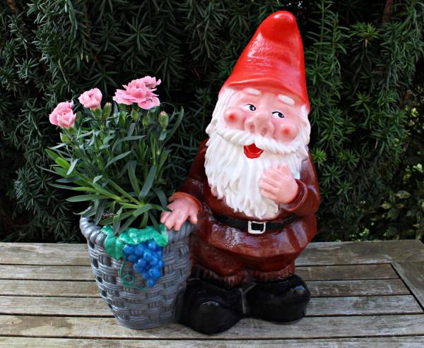 Gartenzwerg stehend mit Pflanztopf zum Bepflanzen Figur Zwerg H 37 cm Gartenfigur aus Kunststoff
