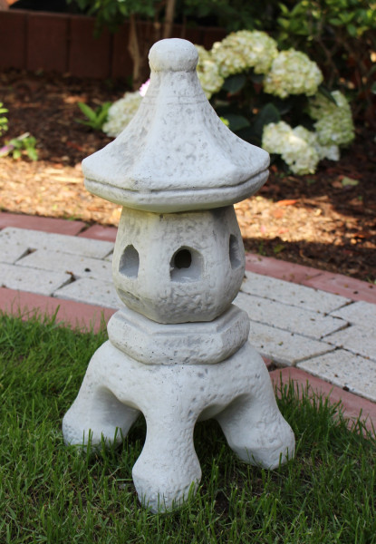 Beton Deko Figur japanische Laterne H 38 cm asiatische Pagode Dekofigur und Gartenskulptur 2-teilig