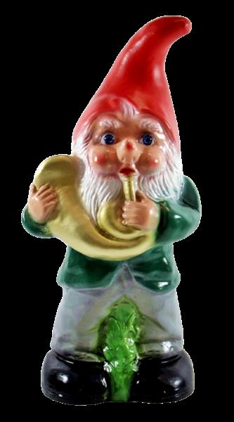 Deko Figur Zwerg H 33 cm Gartenzwerg Musiker mit Posaune stehend Gartenfigur aus Kunststoff