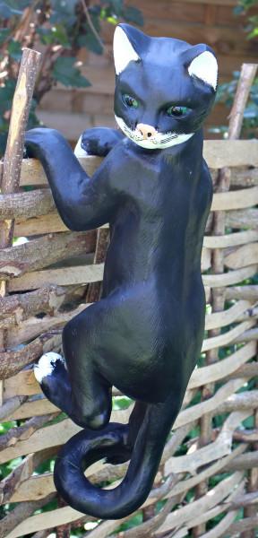 Dekofigur Gartenfigur Katze Kopf nach links kletternd H/L 60 cm Tierfigur Katzenfigur Kunstharz