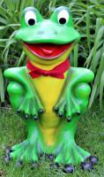 Deko Garten Figur Dekofigur Gartenfigur Tierfigur lustiger Frosch mit Fliege aus Kunststoff H 51 cm
