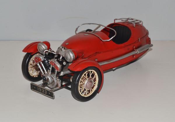 Blechauto Nostalgie Modellauto Oldtimer Automarke Morgan Threewheeler Modell 1933 aus Blech L 34 cm