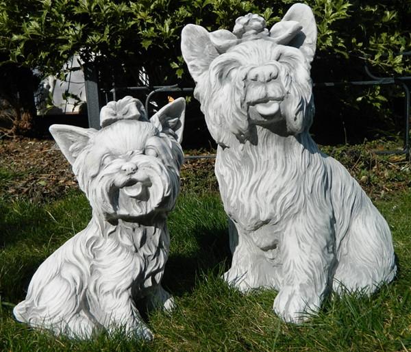 Beton Figur Yorkshire Terrier sitzend groß und klein 2-Satz Dekofiguren und Gartenfiguren