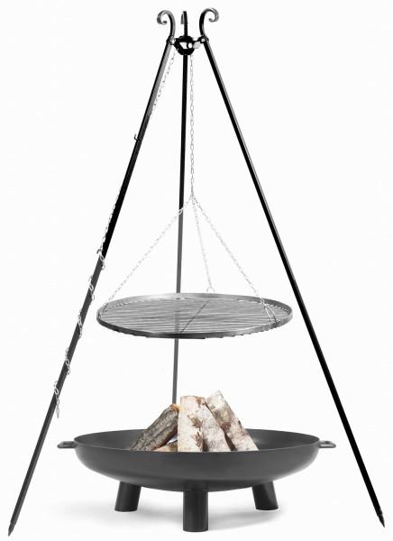 """Set: Dreibein H 180 cm mit Grillrost Ø 50 cm Edelstahl + Feuerschale """"Bali"""" Ø 60 cm Schwenkgrill"""