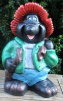 Dekofigur lustiger Maulwurf stehend mit Korb und Holzstück in Hand H 45 cm Gartenfigur aus Kunstharz