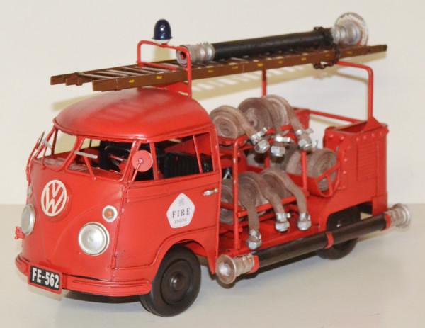 Blechauto Nostalgie Modellauto Oldtimer VW Bulli T1/T2 Feuerwehr Feuerwehrauto 1966 aus Blech L 35cm