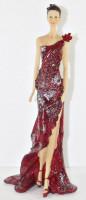Beauty Figur Deko Modefigur Modepuppe Nostalgiefigur Dame roten Kleid mit Blume aus Resin H 33 cm