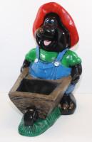 Dekorationsfigur Figur lustiger Maulwurf mit Pflanzkarren H 48 cm Gartenfigur Dkofigur Kunstharz