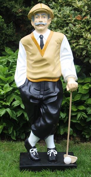 Dekorationsfigur Golfer H 89 cm Dekofigur Golfspieler aus Kunstharz