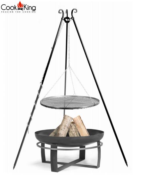 """Set: Dreibein H 180 cm mit Grillrost Ø 80 cm aus Rohstahl + Feuerschale """"Viking"""" Ø 100 cm Grillen"""
