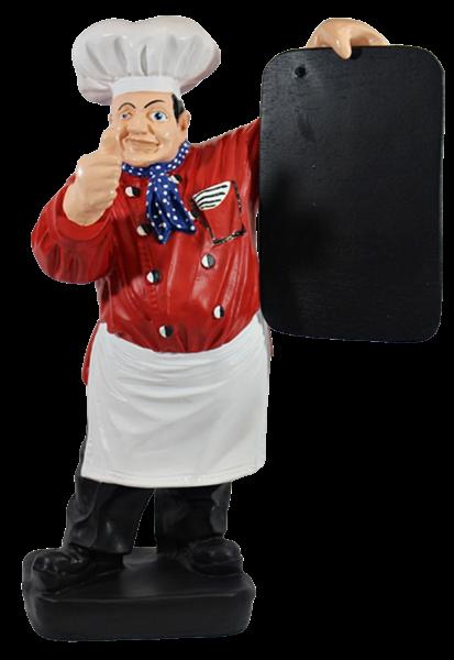 Dekorationsfigur Koch mit Tafel rot H 43 cm Kochfigur Gastrofigur aus Kunstharz